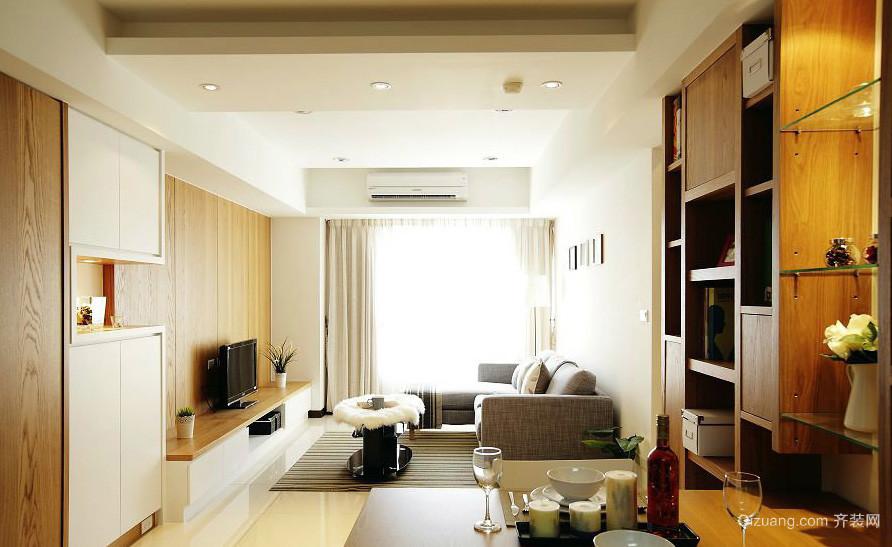 原木色都市单身小公寓客厅装修效果图