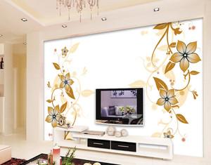 浅色调都市公寓客厅手绘电视墙背景图