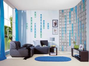 蓝色清爽小公寓客厅玻璃砖隔墙效果图