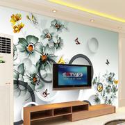 唯妙唯俏现代客厅手绘电视墙背景效果图