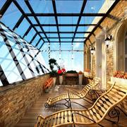 舒适小复式楼露台装修设计效果图