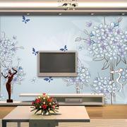 120平米家居客厅浪漫手绘电视墙背景图