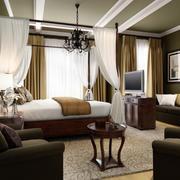 现代美式大酒店套房卧室设计装修图