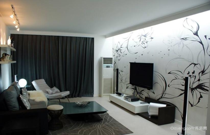 简约前卫小客厅手绘电视墙背景效果图