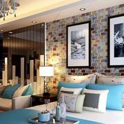 个性单身公寓卧室马赛克背景墙装修图
