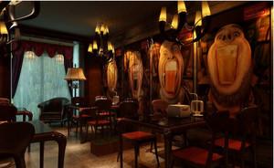 深色系有情调的酒吧墙画装修效果图