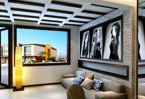 现代高级理发店照片墙装修效果图