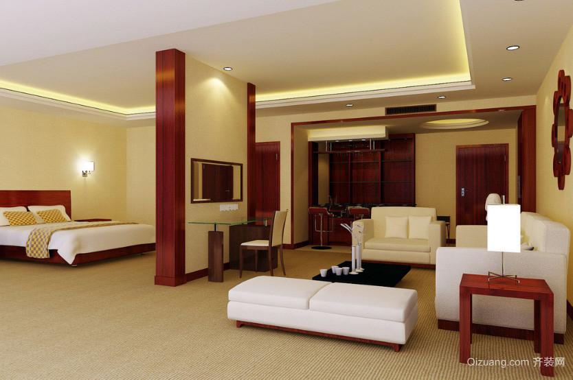 新中式风格酒店豪华套房隔断设计装修图
