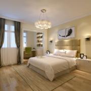 现代独特的欧式单身公寓卧室背景墙装修效果图