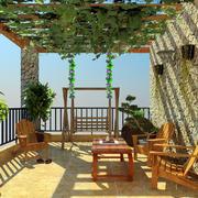 田园风格复式楼露台装修设计效果图