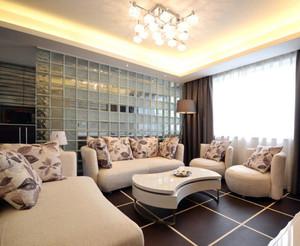 精致都市客厅沙发玻璃砖隔墙效果图