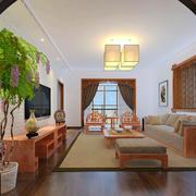 古典中式大客厅原木色家具装修效果图