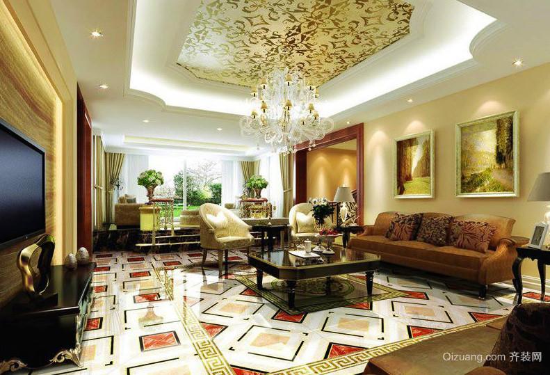 2016独栋别墅美式客厅石膏线吊顶效果图