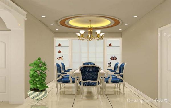 大户型经典的欧式餐厅家庭餐桌椅装修效果图