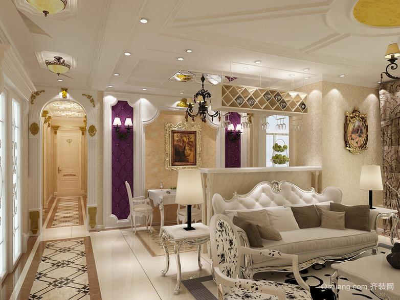 2016唯美的大户型简欧风格家居客厅装修效果图
