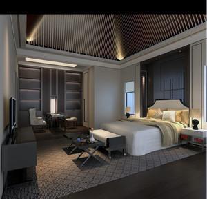 现代都市精致的小宾馆卧室吊顶装修效果图