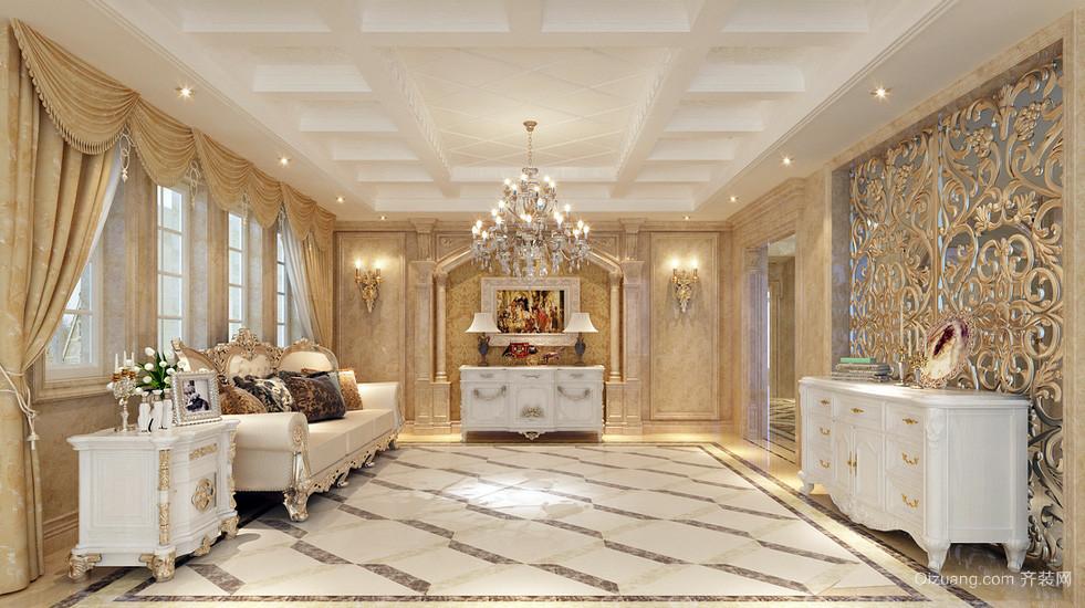 豪华大型欧式别墅玄关石膏线吊顶效果图