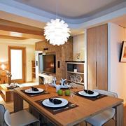 温馨100平米原木色餐厅家具装修效果图