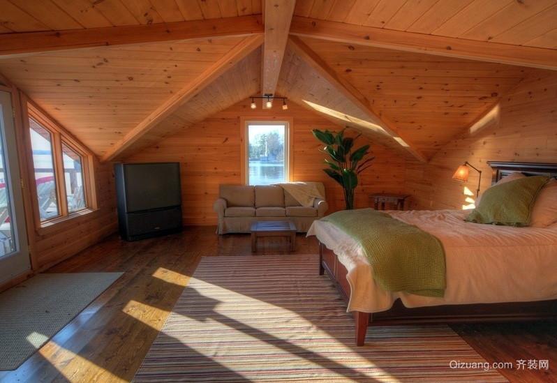 田园木屋斜顶阁楼卧室装修设计效果图