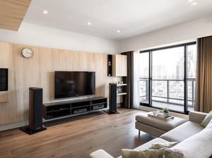朴素现代两居室客厅原木色家具效果图