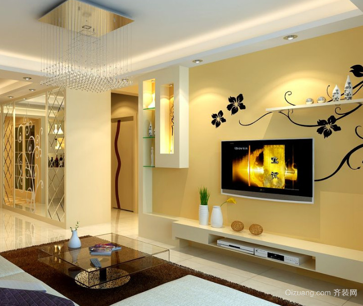 90平米大户型欧式客厅背景墙装修效果图鉴赏
