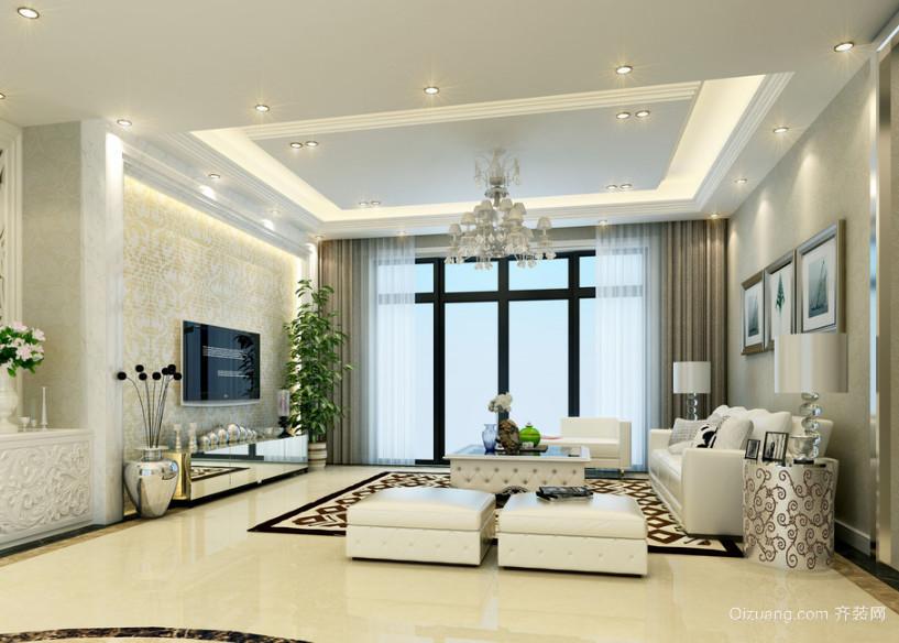 2016现代大户型简欧风格客厅吊顶装修效果图