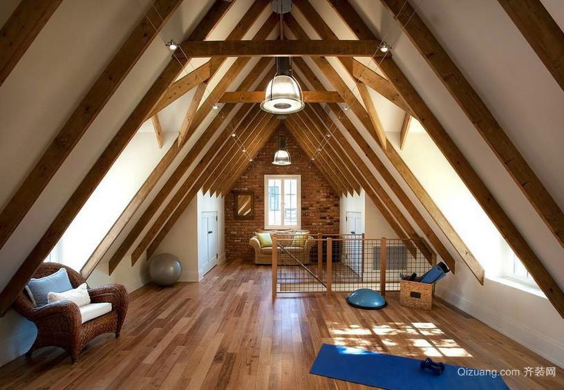 自然风情斜顶阁楼瑜伽室装修设计效果图