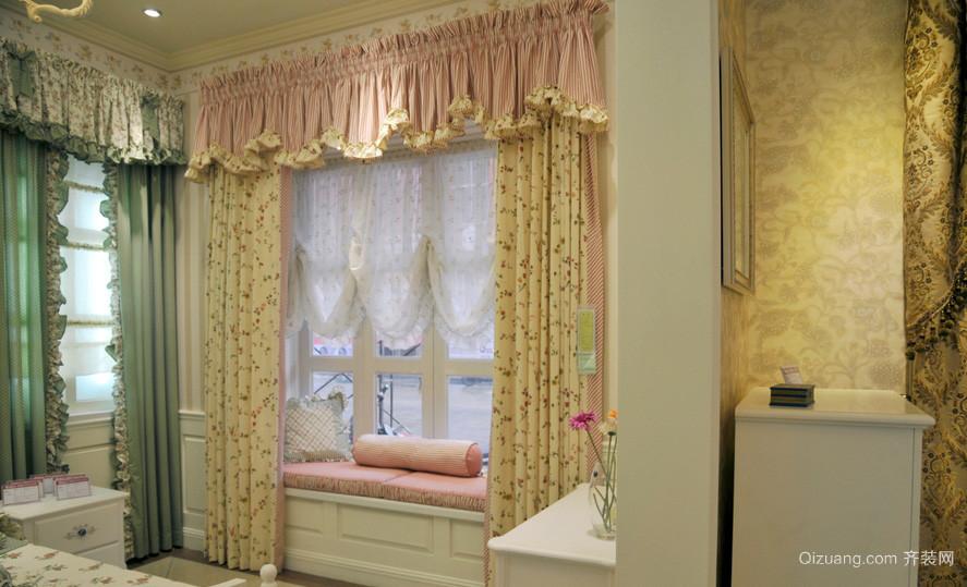 2016甜美田园小户型卧室窗帘效果图