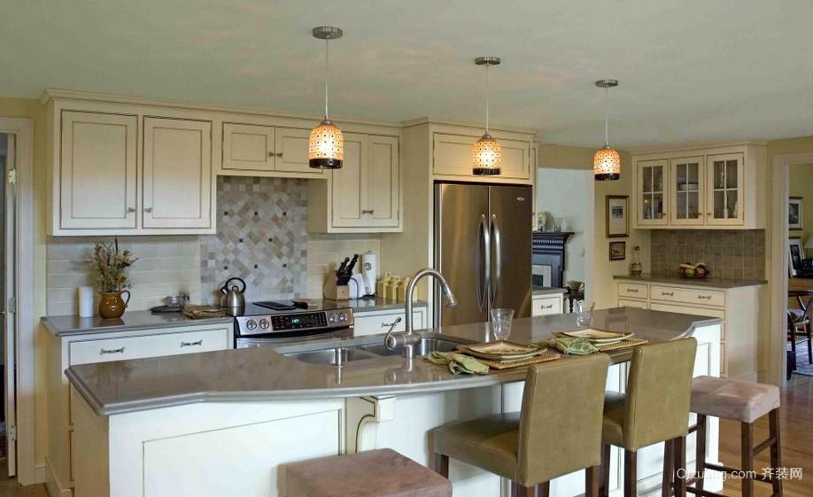 朴素别墅开放式厨房原木色家具装修图