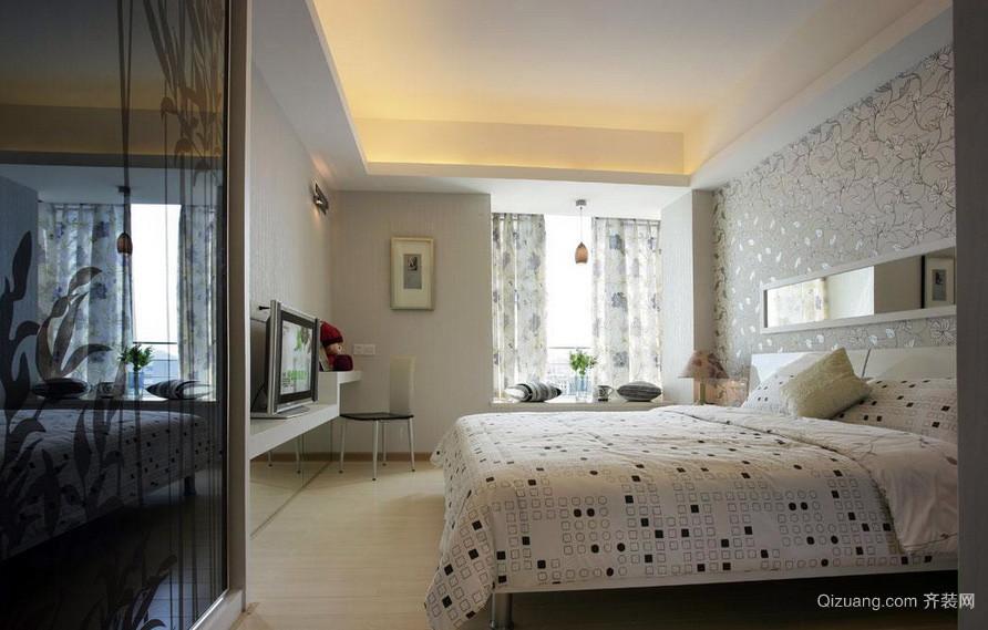 简约现代大户型卧室素雅窗帘效果图