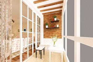 田园风格三室两厅两卫阳台推拉门效果图