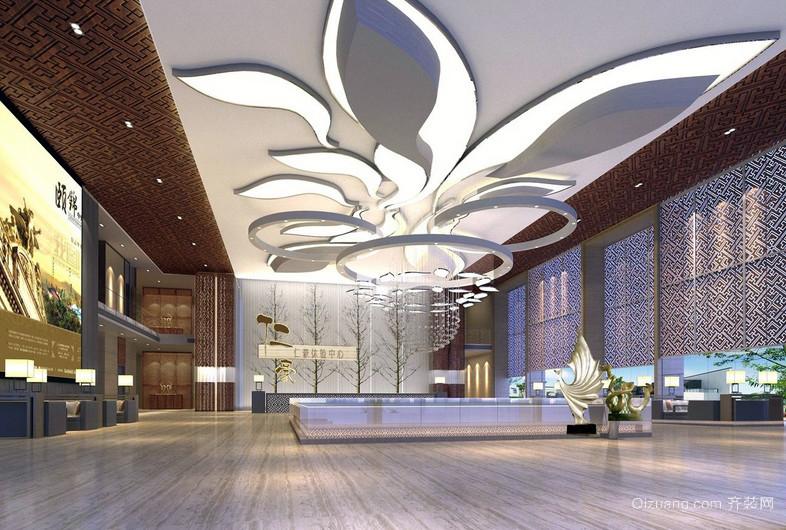 新颖现代大型售楼大厅吊顶装修效果图