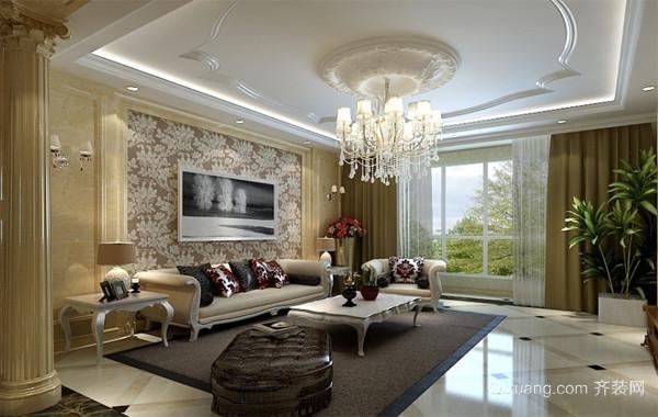 120平米大户型欧式精致客厅吊顶装修效果图
