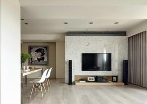 现代简约单身公寓电视背景墙效果图