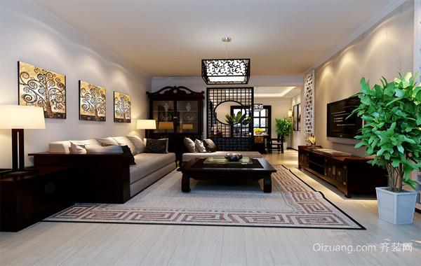 90平米大户型现代中式客厅吊顶家装效果图