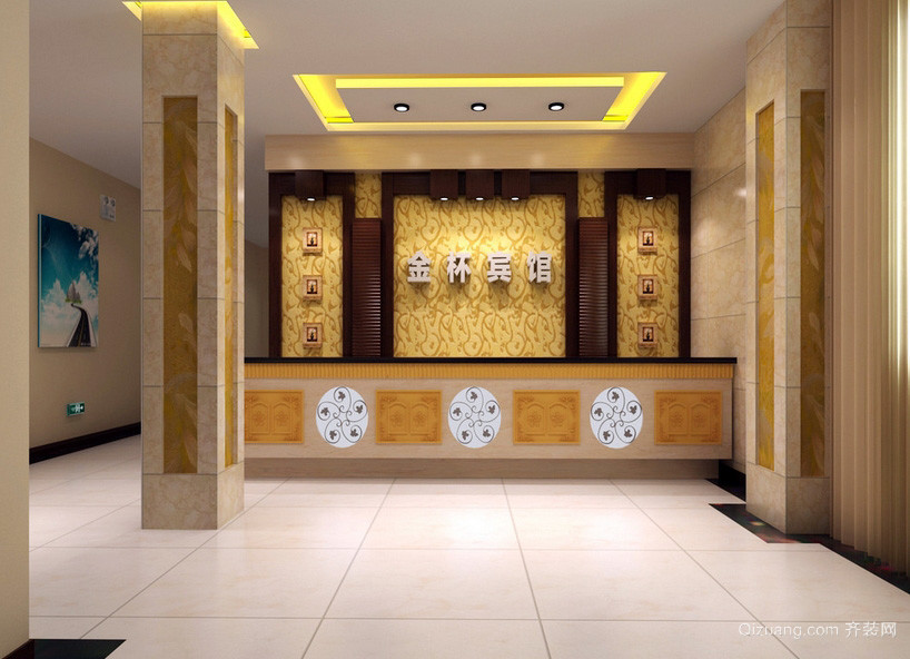 温馨都市便捷宾馆大厅装修设计效果图