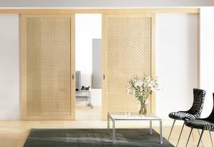 现代一居室小客厅实木推拉门效果图