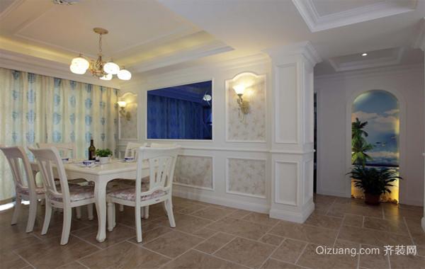 大户型欧式家庭餐厅背景墙装潢设计装修效果图