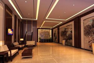 2016中式风格企业大厅装修设计效果图