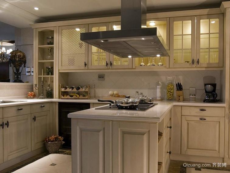 2016简欧别墅风格厨柜位置装修效果图-齐装网大连别墅区在泡崖什么厨房图片