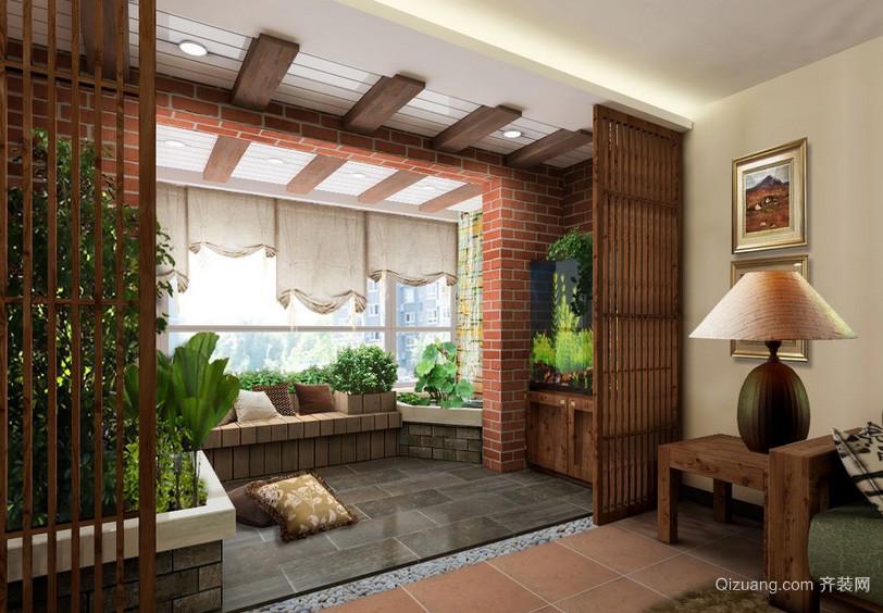 新中式老年公寓阳台花园设计效果图