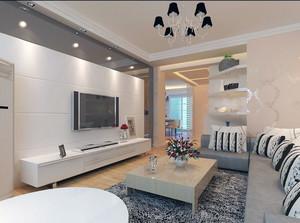 2016大户型现代简约客厅电视背景墙装修效果图