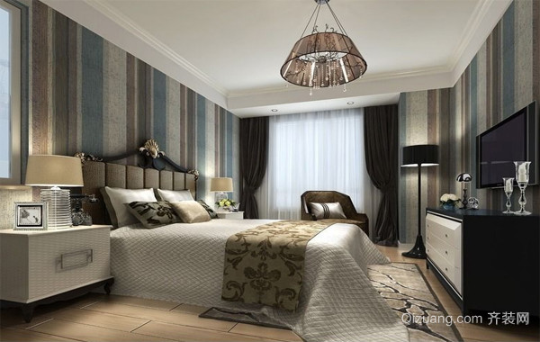 60平米经典简欧小户型卧室背景墙装修效果图