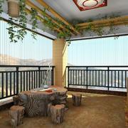 新中式独栋别墅阳台茶几装修设计效果图