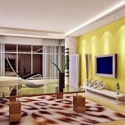 明亮黄色电视墙欣赏