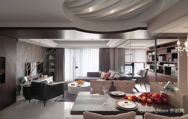 现代古典三居室室内装潢设计效果图