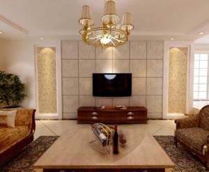 现代大户型欧式客厅硅藻泥电视背景墙装修效果图