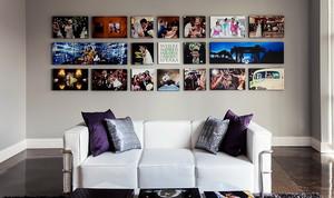 单身公寓时尚客厅照片墙设计效果图