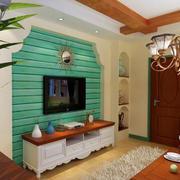 浅绿色实木电视墙