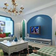 蓝色清爽电视墙